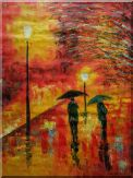 Walking in the Rain at Night Oil Painting Cityscape Modern 40 x 30 inches