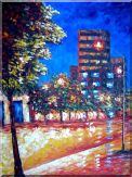 Tree, Street Light and  Urban Bulilding  Under Blue Sky Oil Painting  40 x 30 inches