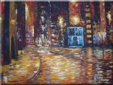 Enchanted City Night Scene With  Bright Yellow Light Oil Painting  30 x 40 inches
