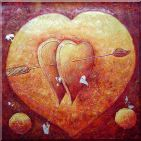 Cupids Love's Arrow on Hearts Oil Painting Nonobjective Modern 30 x 30 inches