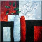 Modern Large Oil Painting Flowers in Vase Still Life 32 x 32 inches