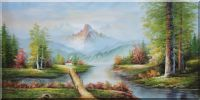 Small Bridge to Cottage, Mountain and Water Landscape Oil Painting River Naturalism 36 x 72 inches