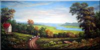 Shepard and Sheep in a Landscape  Oil Painting  36 x 72 inches