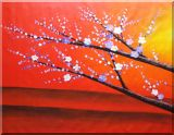 Plum Tree Branches With Blooming White And Blue Flowers Oil Painting  42 x 54 inches
