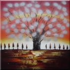 Gleaming Red Tree  Oil Painting  30 x 30 inches