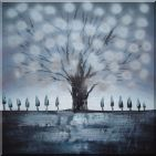 Gleaming Gray Tree Oil Painting Landscape Decorative 30 x 30 inches