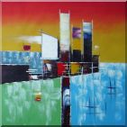Cargo Boat at Port with Green, Blue, Red and Yellow Oil Painting Modern 30 x 30 inches