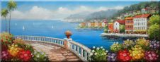 Coastal Paradise Oil Painting Mediterranean Naturalism 28 x 72 inches