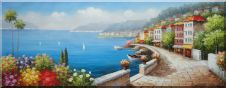 Mediterranean Sidewalk Along Coast Villa Oil Painting Naturalism 28 x 72 inches