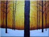 Trees in Snow Covered Field Oil Painting I Landscape Decorative 30 x 40 inches