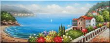 Vacation Villa With Stunning Ocean View to Mediterranean  Sea Oil Painting  28 x 72 inches