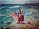 Mother and Kids Playing on the Beachside Oil Painting Portraits Woman Child Impressionism 30 x 40 inches