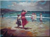 People Enjoy at the Beach with Clear Water Oil Painting Portraits Woman Child Impressionism 30 x 40 inches