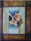 Light Yellow Amaryllis in Brown background Oil Painting Still Life Flower Modern 40 x 30 inches