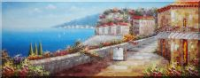 Enjoy Serenity At Mediterranean Coastal Village Oil Painting Naturalism 28 x 72 inches
