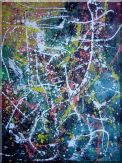 Gorgeous Large Drip Painting Oil Nonobjective Modern 40 x 30 inches