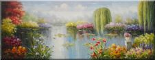 Monet's Waterlily Garden with Flowers and Willows Oil Painting Impressionism 28 x 72 inches