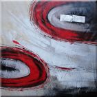 Red Swirls Oil Painting Nonobjective Modern 40 x 40 inches