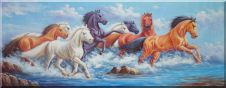 Eight Mustangs Splashing In Water Oil Painting Animal Horse Naturalism 28 x 72 inches