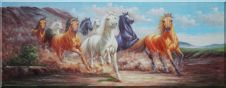 Eight Wild Horses Free Roaming In the Wild Oil Painting Animal Naturalism 28 x 72 inches