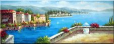 Mediterranean Scenery Oil Painting Naturalism 28 x 72 inches