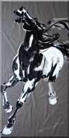 Galloping Horse, Large Black and White Original Painting Oil Animal Asian 70 x 35 inches