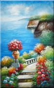 Extra Large Painting of Steps in Mediterranean Garden Oil Naturalism 78 x 48 inches