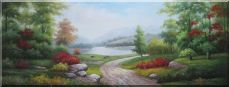Small Road Along the Lakeside Red Flowers Stunning Peaceful Scenery  Oil Painting  24 x 63 inches