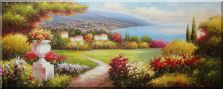 Large Painting of Mediterranean Paradise Oil Painting  28 x 70 inches