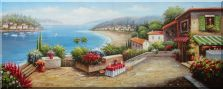 Charming Coastal Vista with Terrace and Stunning Sea views  Oil Painting  28 x 70 inches