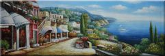 Large Painting of Mediterranean Dream Village Oil Painting  24 x 70 inches