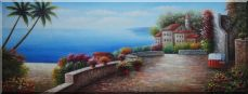 Extra Large Painting of Mediterranean Terrace and Beach Oil Naturalism 24 x 63 inches