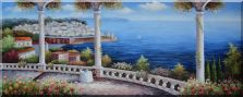 Charming Mediterranean Flower Patio with Stunning Sea View Oil Painting  28 x 70 inches
