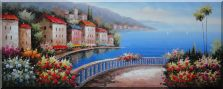 Mediterranean Walkways with Beautiful Flowers Oil Painting  28 x 70 inches