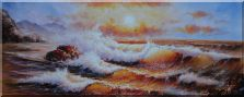 Sea Waves Crashing Rocks, Seagulls,  Golden Sunset Oil Painting  28 x 70 inches