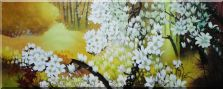 Beautiful Cherry Trees with White Flowers in Yellow Background Oil Painting  28 x 70 inches