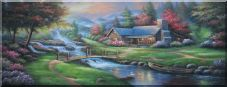 Small Bridge to Waterside Cottage With Colorful Flowers Beautiful Scenery Oil Painting Garden Naturalism 27 x 70 inches