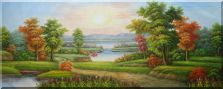 Xanadu, Small Path, Waterfall, Lake, Flowers And Trees Oil Painting Landscape River Classic 28 x 70 inches