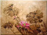 Blooming Fresh Pink Lotus Flower in Rain Oil Painting  30 x 40 inches