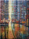 Wet City Street With Skyscrapers in a Modern Setting Oil Painting  40 x 30 inches