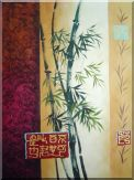 Bamboo Impressions Oil Painting Flower Asian 40 x 30 inches