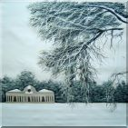 Winter Snow Covered Landscape Scene Oil Painting  32 x 32 inches