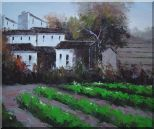 Green Vegetable Field Near a Farm Village Oil Painting Impressionism 20 x 24 inches