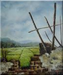 Old Broken Wall in a Farm Field Oil Painting Village Classic 24 x 20 inches
