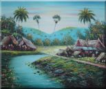 Pond Side Small Huts Oil Painting Village Naturalism 20 x 24 inches
