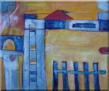 Safety Fence in Front of Farm House Oil Painting Village Modern 20 x 24 inches