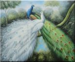 Blue and White Peacock Pair In Garden Tree Oil Painting Animal Naturalism 20 x 24 inches