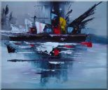 Modern Harbor-side Ship Oil Painting Boat 20 x 24 inches