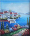 Mediterranean Seaside Villa Oil Painting Naturalism 24 x 20 inches