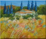 Countryside Houses and Fields Scenery Oil Painting Village Impressionism 20 x 24 inches